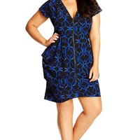Plus Size Women's City Chic 'Barbed' Print Pleat Zip Front Tunic,