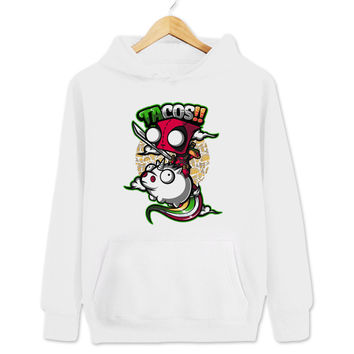 Deadpool And Invader Zim Mash Up Tacos And Unicorns Women's & Men's Unisex Casual White Pullover Hoodie