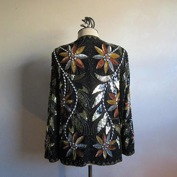 80s Beaded Floral Jacket Evening Peacock Inspired Sequin Black Silk 1980s Technicolor Blazer