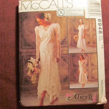 Sale Uncut 1994 McCall's Sewing Pattern, 6948! Size 14 Medium/Women's/Misses/Alicyn Exclusives Designer Wedding Gowns/Lace Over Dress/Brides