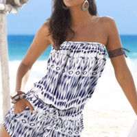 Blue Dip Dye Bandeau Strapless Rompers