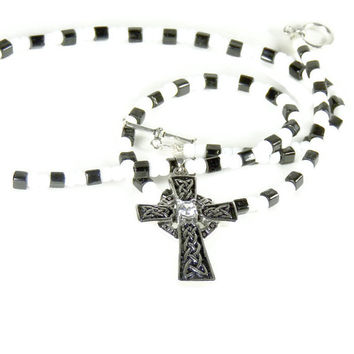 Large Celtic Cross Pendant with Black and White Beaded Necklace, Unisex