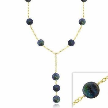 18K Gold over Sterling Silver Freshwater Cultured Black Coin Pearl Y Necklace