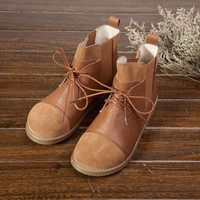 2 Colors Womens Handmade Leather Boot,Ankle Boots,Oxford Women Shoes, Flat Shoes, Vintage Shoes, Casual Boot, Short Boots Color Blocking