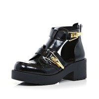 Black patent cut out block heel ankle boots