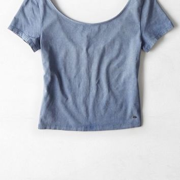AEO Women's Ballet Back Cropped T-shirt (Blue)