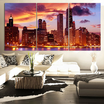 LARGE Wall Art CANVAS Print 3 Panel Beautiful Chicago Skyline Sunset Light - Wall Art Canvas Chicago Cityscape Large Canvas Art Paintings