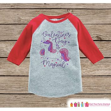 Girls Unicorn Shirt - Valentines Day is Magical Purple Unicorn - Love Unicorn - Girls Onepiece or Tshirt - Kids, Toddler, Youth Red Raglan