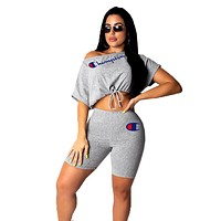 Champion tide brand female models sexy strapless letter printing set two-piece Grey