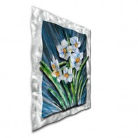 "All My Walls White Daffodils Contemporary Wall Art - 39"" x 31"" - FLOR00009 - All Wall Art - Wall Art & Coverings - Decor"