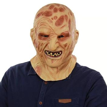 Realistic Adult Party Costume Horror Mask Deluxe Freddy Krueger Mask Scary Halloween Carnival Cosplay Zombie Mask