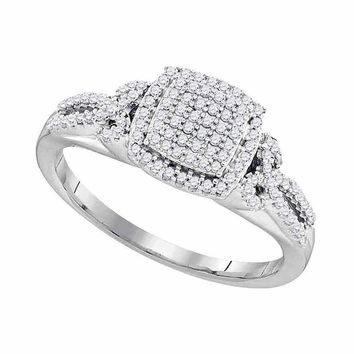 10kt White Gold Womens Round Diamond Square Cluster Bridal Wedding Engagement Ring 1/3 Cttw