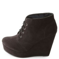 Lace-Up Platform Wedge Booties by Charlotte Russe - Black