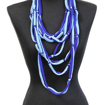 Blue Multi Fabric Strand Bib Necklace And Earring Set