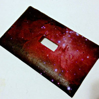 Single Light Switch Plate Cover--Pink Galaxy Space, galaxy decor, galaxy decoration, space decorations, nebula, stars