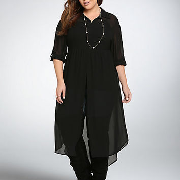 Chiffon Button Down Maxi Tunic