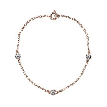 Dainty Cubic Zirconia Station Chain Bracelet in Rose Gold Plated Silver 7 Inches