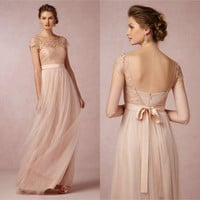 Cheap Lace Long Bridesmaid Dress Blush Pink Scoop Short Sleeves Lace Tulle Maid of Honor Backless Beach Wedding Party Dress