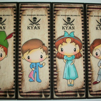 PETER PAN BooKMARKS - Birthday Party - Custom - Whimsical - Made to order - Set of 4 Bookmarks - Personalized - Party Favors - PP 4423