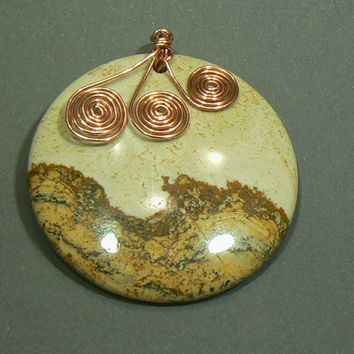 Picture Jasper Pendant with Copper Spirals by 3cedarsjewelry
