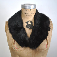 Black Rabbit Fur Collar / soft genuine fur
