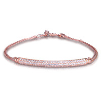 Rose Gold Plated Sterling Silver Natural Tube Bracelet