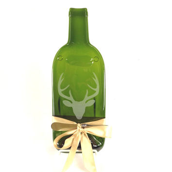 Stag Deer Melted Bottle Cheese Tray - Green Glass Wine Bottle