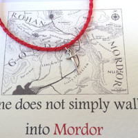 Lord of the Rings Sword Charm Red Bracelet Mordor Map