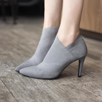 Pointed Toe High-Heeled Boots Autumn And Winter Fitted Women Shoes