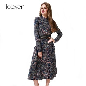 2017 Winter Autumn Women Casual Cashew Flowers Print Dress Brief Turtleneck Loose Dress Pockets Female Sexy Split Party Dress