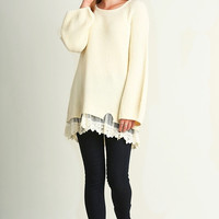 Delicate Lace Trimmed Knit Sweater Tunic {Cream}