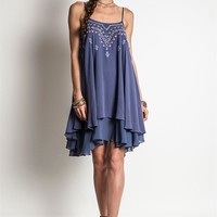 Umgee Dolphin Blue Layered Dress with Colorful Embroidery
