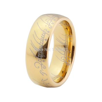 Very popular 8mm gold-color the lord of the ring tungsten jewelry ring wedding band