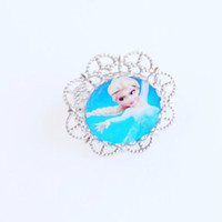 Elsa Frozen Disney Movie Adjustable Laminated Ring Baroque Silver Metal Cameo Photo Handmade Jewelry