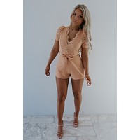 The Missing Piece Romper: Peach
