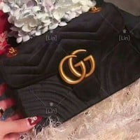GUCCI Women Shopping Velvet Satchel Shoulder Bag Handbag Crossbody
