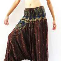 Womens Harem Pants Jumpsuit paisley design Trousers Yoga Pants Baggy Pants Brown
