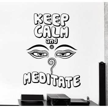 Wall Decal Keep Calm And Meditate Yoga Buddha Meditation Quotes Unique Gift z4006