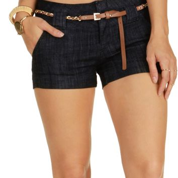 Denim Chain Belted Shorts