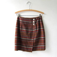 90s Boho Mini Skirt. Wool Wrap