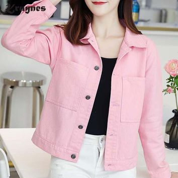 Denim Jacket Women Short Jeans Overcoat Ladies Jackets Tops Turn Down Collar Slim White Pink Jeans Top For Women High Quality