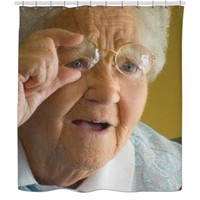 Grandma Watching; Shower Curtain