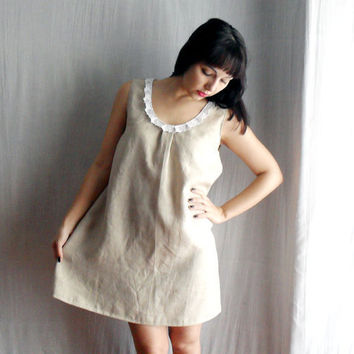 Sand linen tunic dress Sizes from XS to XL by AliceCloset on Etsy