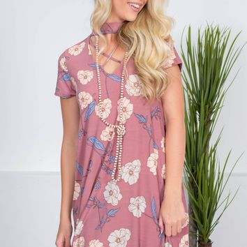Poppy Floral Mauve Pocket Dress