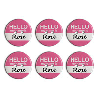 Rose Hello My Name Is Plastic Resin Button Set of 6