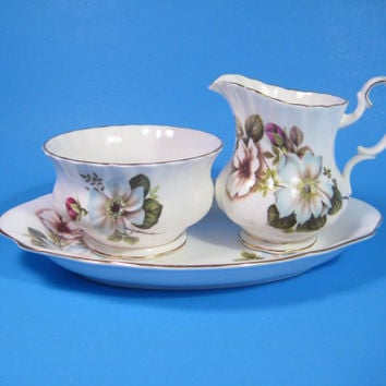 Royal Albert Sugar Creamer Set English Bone China with Tray Dog Wood Blue White Pink Rosebud Pattern