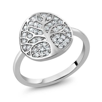 925 Sterling Silver Gorgeous White Tree Of Life Ring Made With Swarovski Zirconia (Available in size 5, 6, 7, 8, 9)