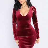 Filled With Beauty Velvet Dress - Burgundy