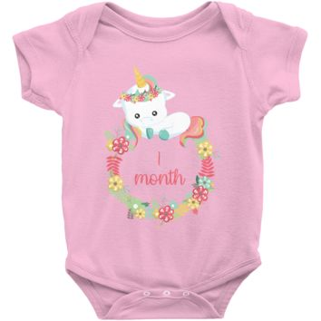 Unicorn Milestone Infant Bodysuit - 1 Month