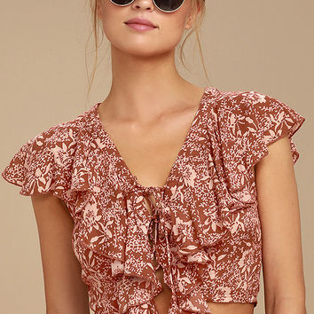 Amuse Society Solana Rust Red Floral Print Lace-Up Crop Top